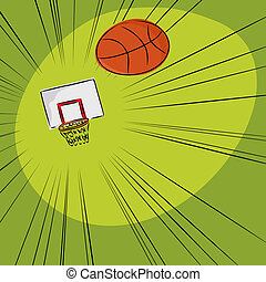 basketbal, in, het net
