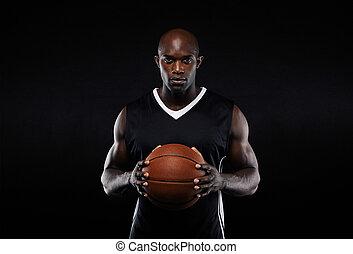 basketbal, jonge, gespierd, uniform, speler, mannelijke