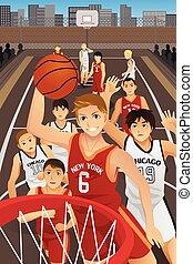 basketbal, jonge mensen, spelend