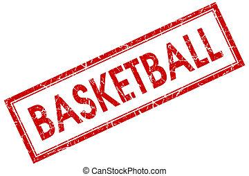 basketbal, rode plein, postzegel, vrijstaand, op wit, achtergrond