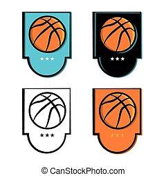 basketbal, set, embleem, iconen