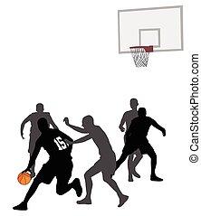 basketbal spel, silhouettes
