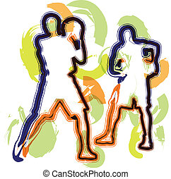 basketbal speler, in, action., vector