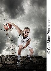 basketbal speler, rennende , op, grungy, oppervlakte