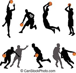 basketbal spelers, silhouettes, verzameling