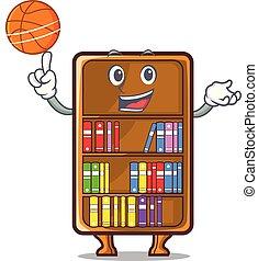 basketbal, studeren, naast, boekenkast, bureau, mascotte