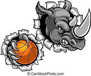 basketbal, vasthouden, verbreking, neushoorn, bal, achtergrond