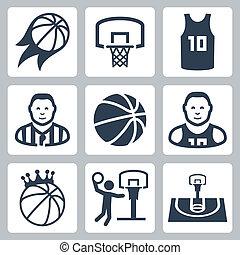 basketbal, vector, set, iconen