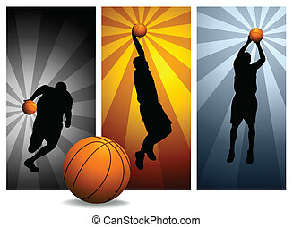 basketbal, vector, spelers