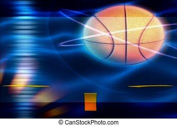 basketbal, verlichten, omgeven