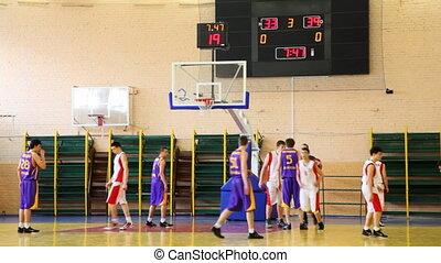 basketbal, werpen, bal, student, onder, mand, scrambling,...
