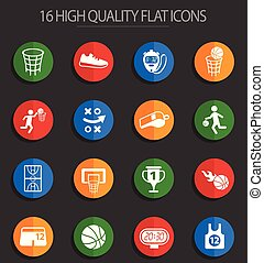 basketball 16 flat icons
