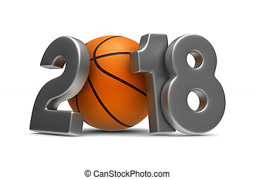 basketball 2018 on white background. Isolated 3D...