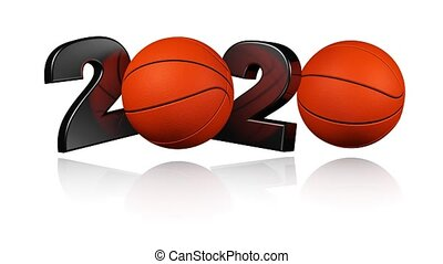 Basketball 2020 design in Infinite Rotation on a White...