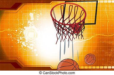 Basketball - A basketball is coming down through net