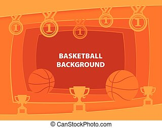 Basketball Abstract background with paper cut shapes