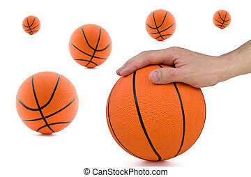player hand and many orange balls