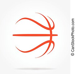 basketball abstract simple line drawing vector