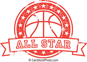 Basketball All Star - Vintage style basketball sport stamp.