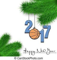 Basketball and 2017 on a Christmas tree branch