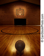 Basketball and Basketball Court - Basketball on floor of ...