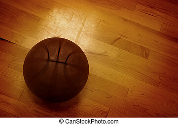 Basketball and Basketball Court - Basketball on floor of ...