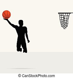 Basketball and silhouette player background