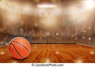Basketball Arena With Ball on Court and Copy Space