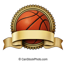 Basketball award crest on a gold medallion for competition...