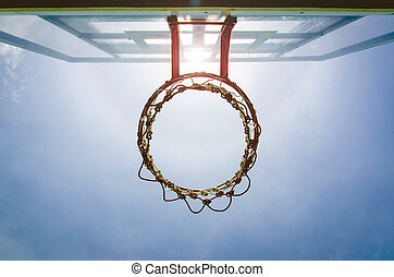 Basketball backboard below the net