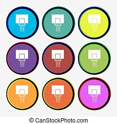 Basketball backboard icon sign. Nine multi colored round buttons. Vector