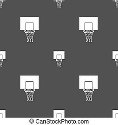 Basketball backboard icon sign. Seamless pattern on a gray background. Vector