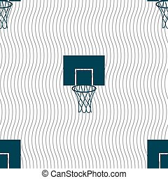 Basketball backboard icon sign. Seamless pattern with geometric texture. Vector