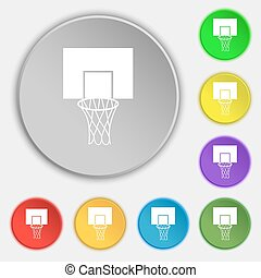 Basketball backboard icon sign. Symbol on eight flat buttons. Vector