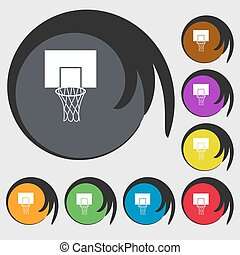Basketball backboard icon. Symbols on eight colored buttons. Vector