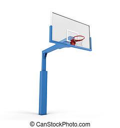 Basketball backboard isolated on white background. 3d ...