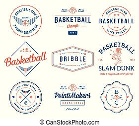basketball badges colored