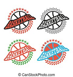 Basketball Badges with Stars and Laurel Wreath