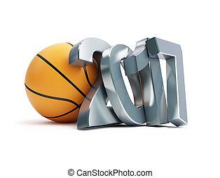 basketball ball 2017 3D illustrationon a white background