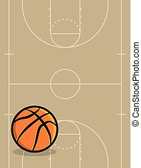 Basketball Ball and Court Background Illustration