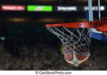 basketball ball and net on black background - Basketball...