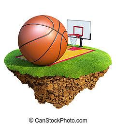 Basketball ball, backboard, hoop