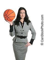 Basketball ball businesswoman gray suit