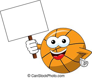 basketball ball cartoon funny character copy space blank...