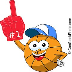 basketball ball cartoon funny character number one gloves supporter or fan isolated