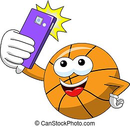 basketball ball cartoon funny character selfie shot smartphone isolated