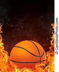 Basketball Ball on Fire. 2D Graphics. Computer Design.