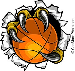 Basketball Ball Eagle Claw Tearing Background
