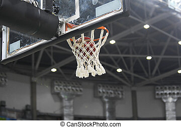 Basketball ball entering the ring and falling through the net