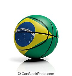 Basketball ball flag of Brazil isolated on white background